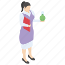 chemical report, lab experiment, lab worker, laboratory test, scientific lab icon