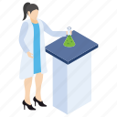 chemical flask, lab experiment, lab worker, laboratory test, scientific lab icon