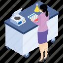 lab experiment, lab worker, laboratory test, scientific lab, scientific report icon