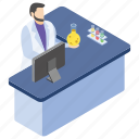 lab experiment, lab worker, laboratory test, report writing, scientific lab icon