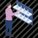 lab experiment, lab worker, laboratory test tube, laboratory vessels, scientific lab icon