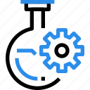 chemistry, flasks, gear, laboratory, process, science icon