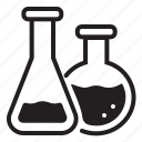 chemistry, education, flasks, lab, laboratory, research, science icon