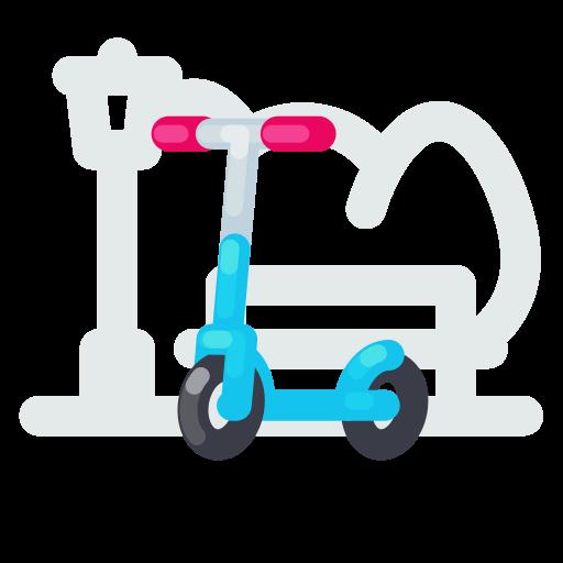 kick, riding, scooter, trip icon