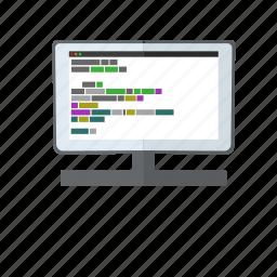 code, coding, display, html, javascript, monitor, screen icon