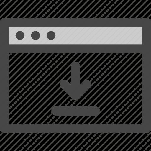arrow, browser, computer, download, media, screen, web icon