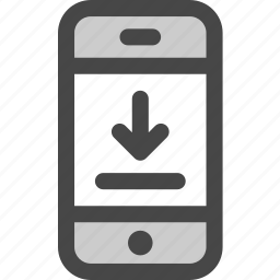 arrow, device, download, message, phone, screen icon
