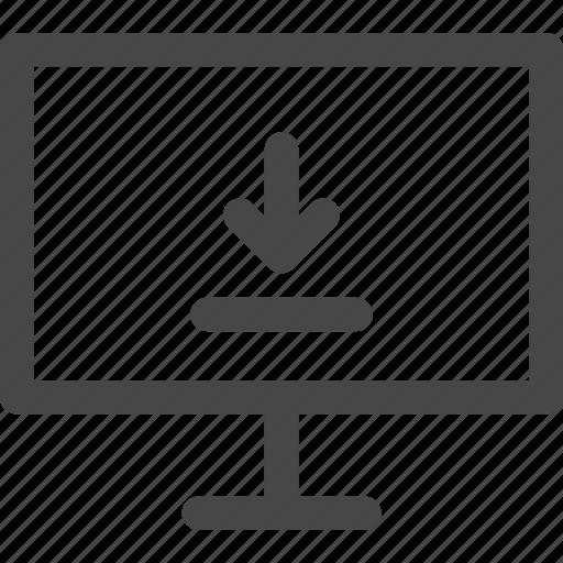 arrow, computer, download, media, screen, tv icon