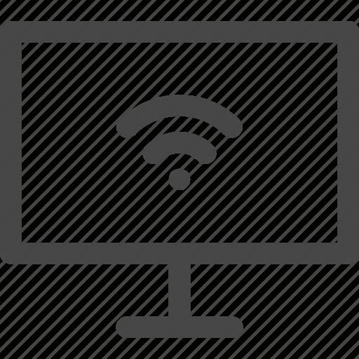 computer, connection, internet, media, screen, tv, wifi icon