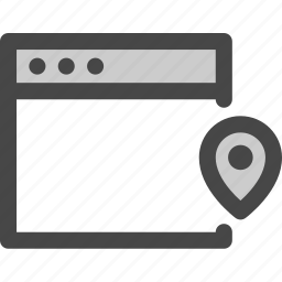 browser, computer, location, media, pin, screen, web icon
