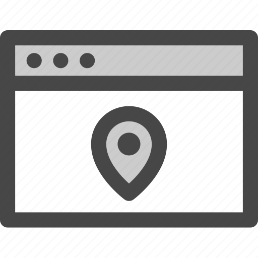 browser, computer, device, location, media, pin, screen icon