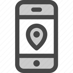 device, location, message, phone, pin, screen icon