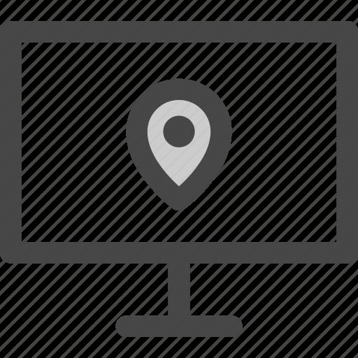 computer, device, location, media, pin, screen, tv icon