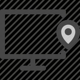 computer, location, media, pin, screen, tv icon