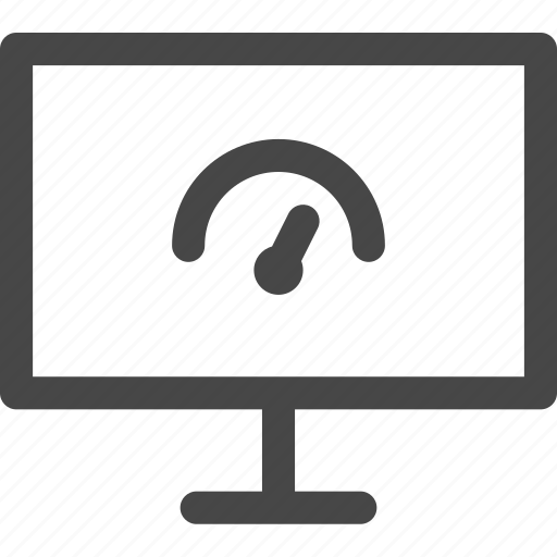 computer, indicator, media, performance, screen, speed, tv icon