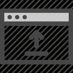 arrow, browser, computer, media, screen, upload, web icon