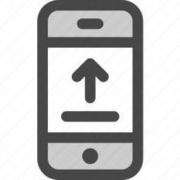 arrow, device, message, phone, screen, upload icon