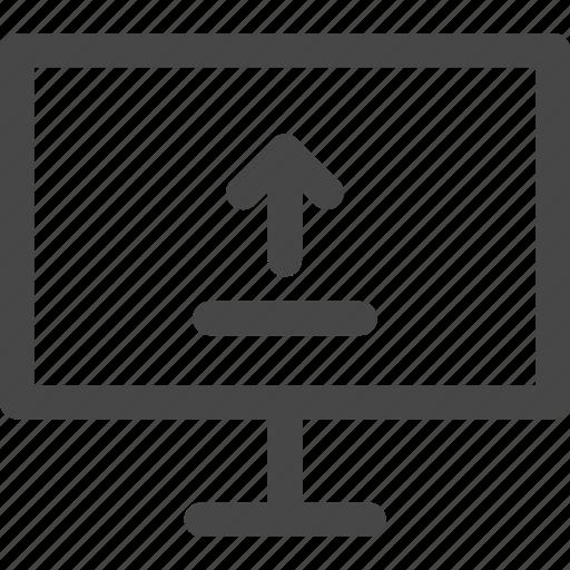 arrow, computer, media, screen, tv, upload icon