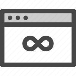 browser, computer, eternity, infinity, time, unlimited, usage icon