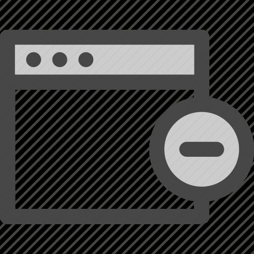browser, computer, delete, minus, reduce, remove icon