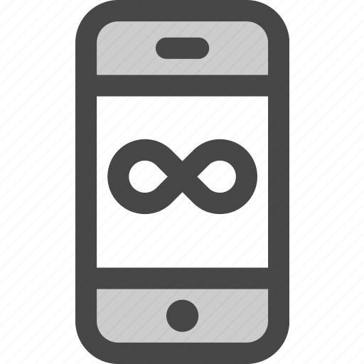 eternity, infinity, mobile, phone, time, unlimited, usage icon