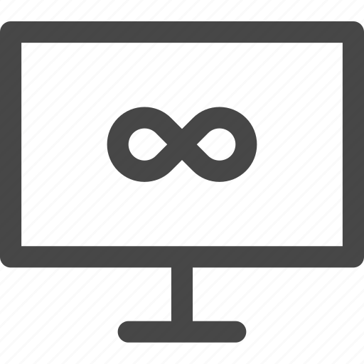 computer, eternity, infinity, screen, time, unlimited, usage icon