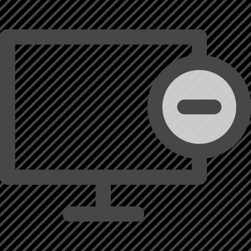 computer, delete, minus, reduce, remove, screen icon