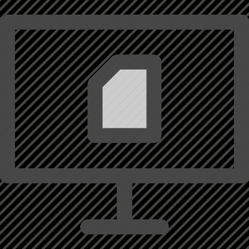 computer, data, document, file, screen, sim, storage icon