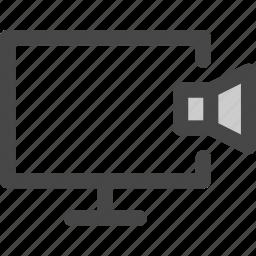 computer, music, mute, screen, sound, speaker icon