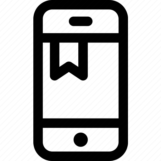 bookmark, favorite, internet, mobile, note, phone, ribbon icon