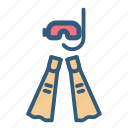 diving, fin, mask, snorkeling icon