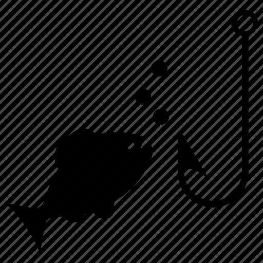 aquatic animal, fishing, fishing hook, fishing rod, fishing tackle icon