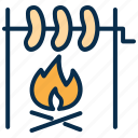 bbq, cook, cooking, fire, food, sausage icon