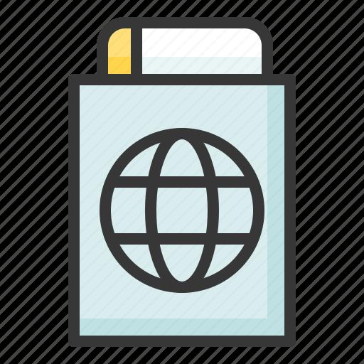 card, passport, sea, travel icon