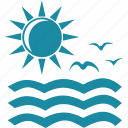 bird, ocean, sea, sun icon
