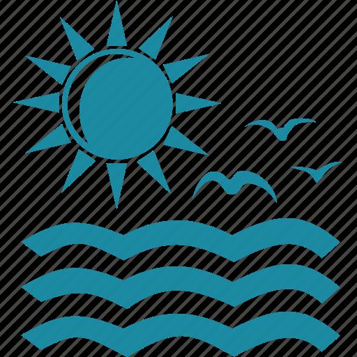 bird, ocean, sea, sun icon