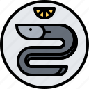 eat, eel, food, lemon, restaurant, seafood, smoked icon