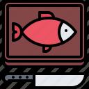 board, eat, fish, food, knife, restaurant, seafood icon