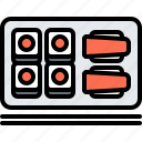 eat, food, restaurant, roll, seafood, sticks, sushi icon