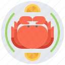 crab, eat, food, lemon, plate, restaurant, seafood