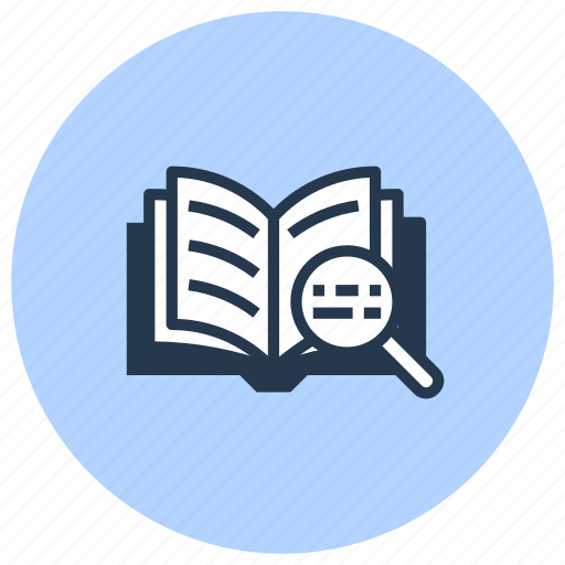 book, library, magnifier, open, search icon