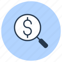 analysis, financial, find, magnifier, money, search icon