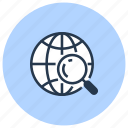find, globe, magnifier, search, trip, web icon
