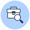 analysis, business, find, job, magnifier, search icon