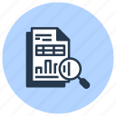data, document, find, magnifier, search, zoom icon