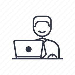 business, businessman, computer, occupation, seo, work, worker icon