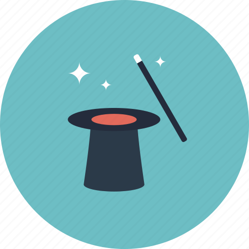 focus, hat, ideas, illusion, imagination, magic, magical, metaphor, mystery, trick, tricks, wand icon