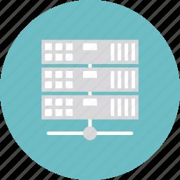 array, cluster, communication, computing, connection, data, database, datacenter, hardware, host, hosting, internet, network, rack, server, storage, technology, web icon
