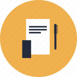 business, desk, document, documents, equipment, office, paper, pen, text, tools icon