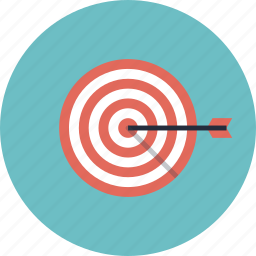 arrow, bull's eye, business, goal, growth, marketing, mission, point, score, solution, strategy, success, target, top, win icon